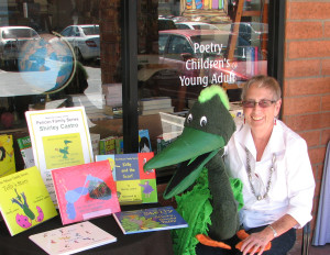 Pelican Family Series Author Shirley Castro with Pelly the Pelican at a Bookstore presentation
